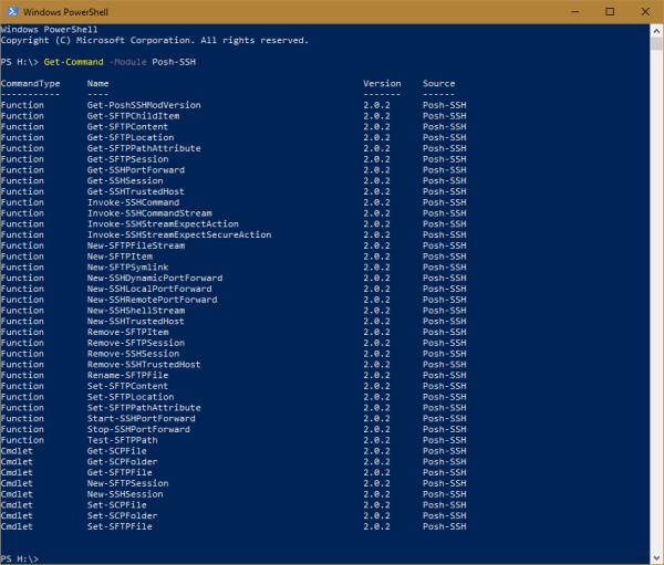 Windows PowerShell Posh SSH Cmdlets 600x511 - Managing FTP/SFTP/SSH using PowerShell on Windows 10