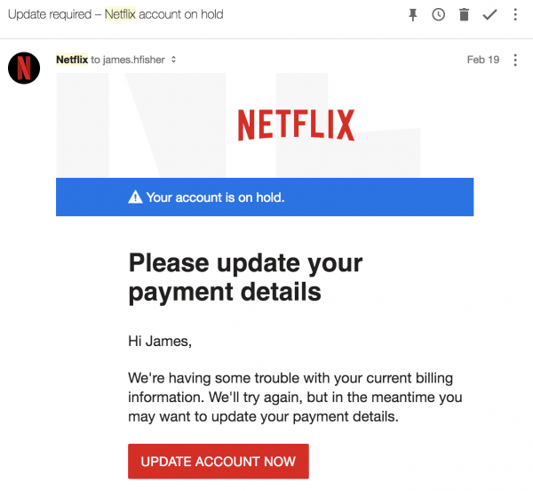 netflix to gmail email 600x552 - The Dots Do Matter - How To Scam a Gmail User