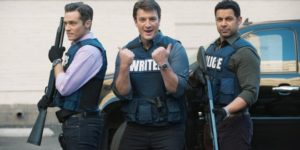 Kevin Ryan (portrayed by Seamus Dever), Richard Castle (portrayed by Nathan Fillion), and Javier Esposito (portrayed by Jon Huertas) posing.
