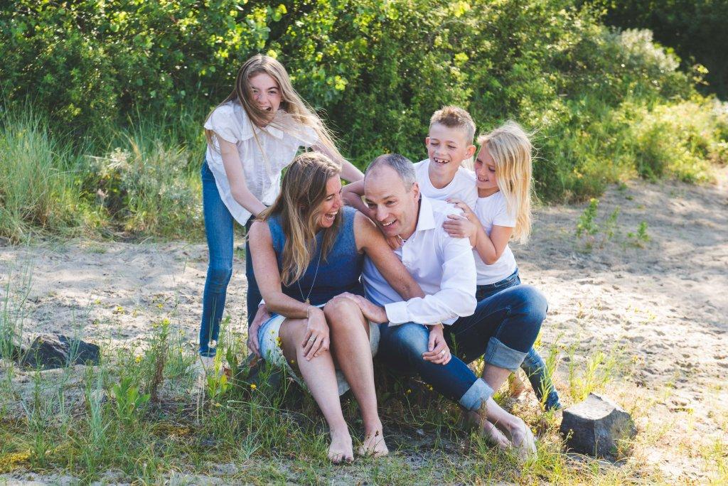gezinsfoto's op het strand