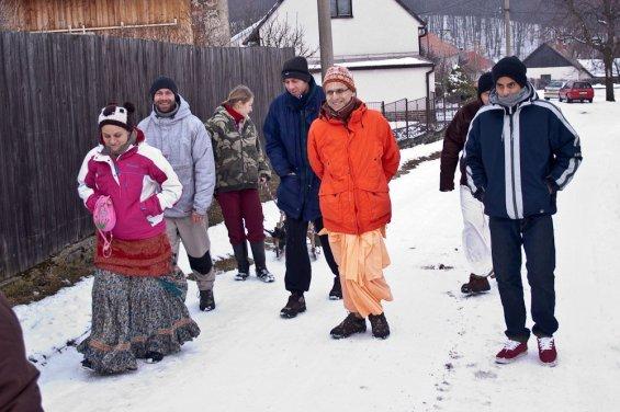 Walking in the Moravian Snow
