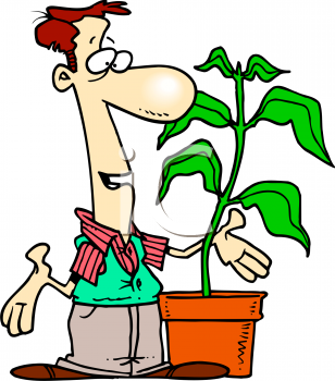 0511-0810-3119-1756_Cartoon_of_a_Florist_Talking_to_One_Of_His_Plants_clipart_image
