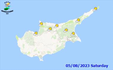 Die Wettervorhersage für Zypern - übermorgen