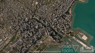 Downtown Chicago city model built with Maproom, CC3D, OSM, and Bing