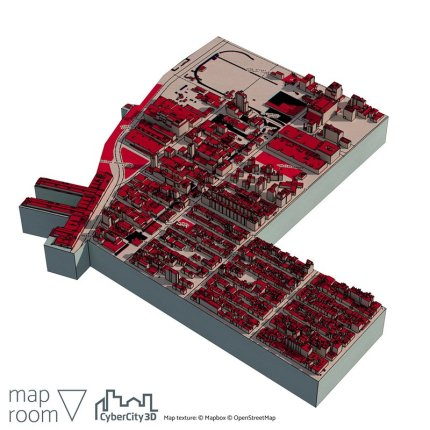 Map with CyberCity 3D buildings in New York. This sample area ships with Maproom for free.