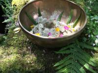 ceremonie klankschaal gevuld met bloemen op een oude muur met mos