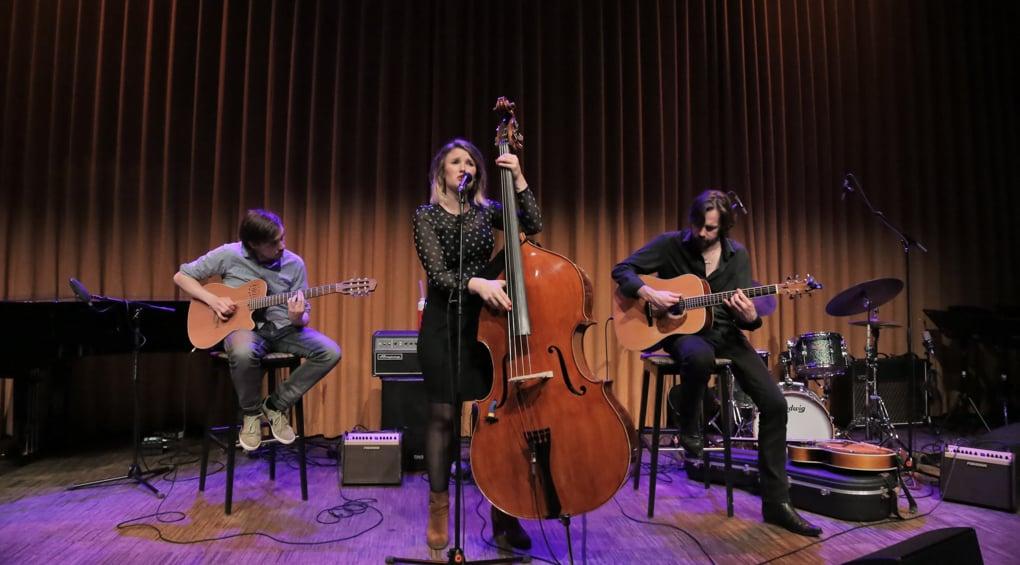 contrabassist en zangeres Nathalie Schaap uit Zwolle - ©Wim Roelsma