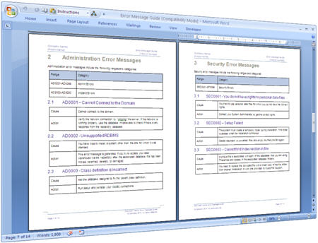 You can use this MS Word template as a guide for writing your own Error Guide and technical documentation. Delete any sections that do not fit your topics; add sections where needed.
