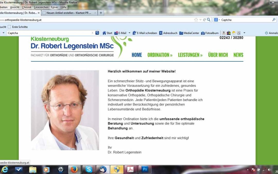 Orthopäde mit neuer Website