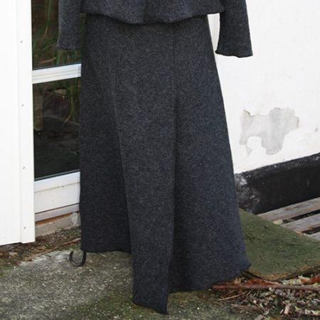 Lang grå Uld nederdel