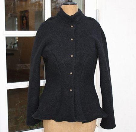 Uld jakke i sort uld