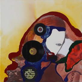 Klaus Killisch, small talk, 2004, acrylic paint, LPs, collage on canvas, 110 X 110 cm, private collection
