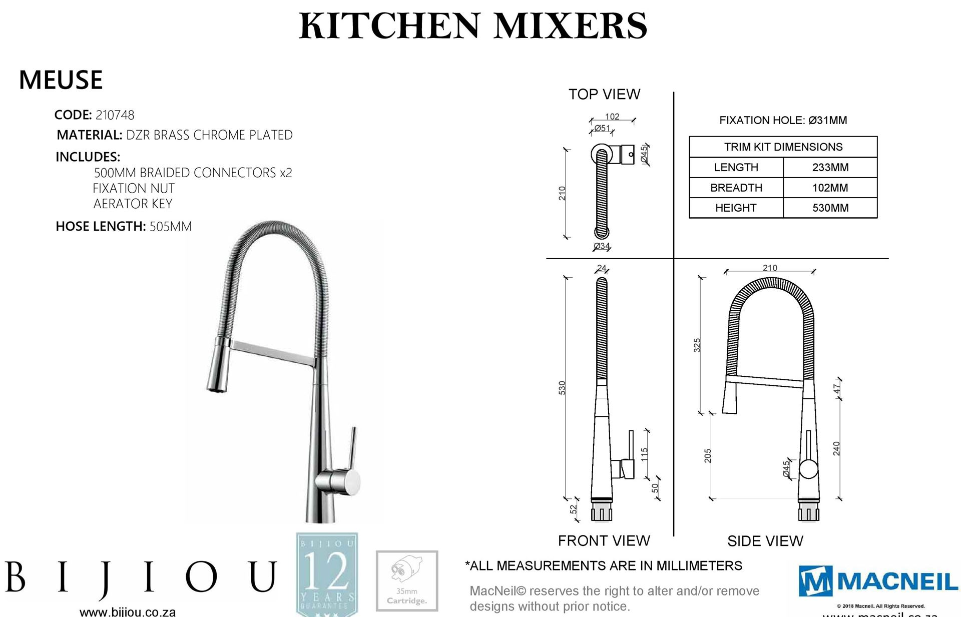 Bijiou Meuse Pull Out Kitchen Sink Mixer With Stainless