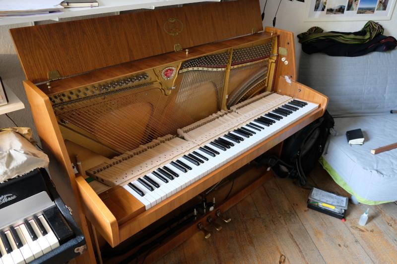 Klavier ohne Motor: So sieht ein Klavier aus ohne den herausgenommenen Mechanikblock.