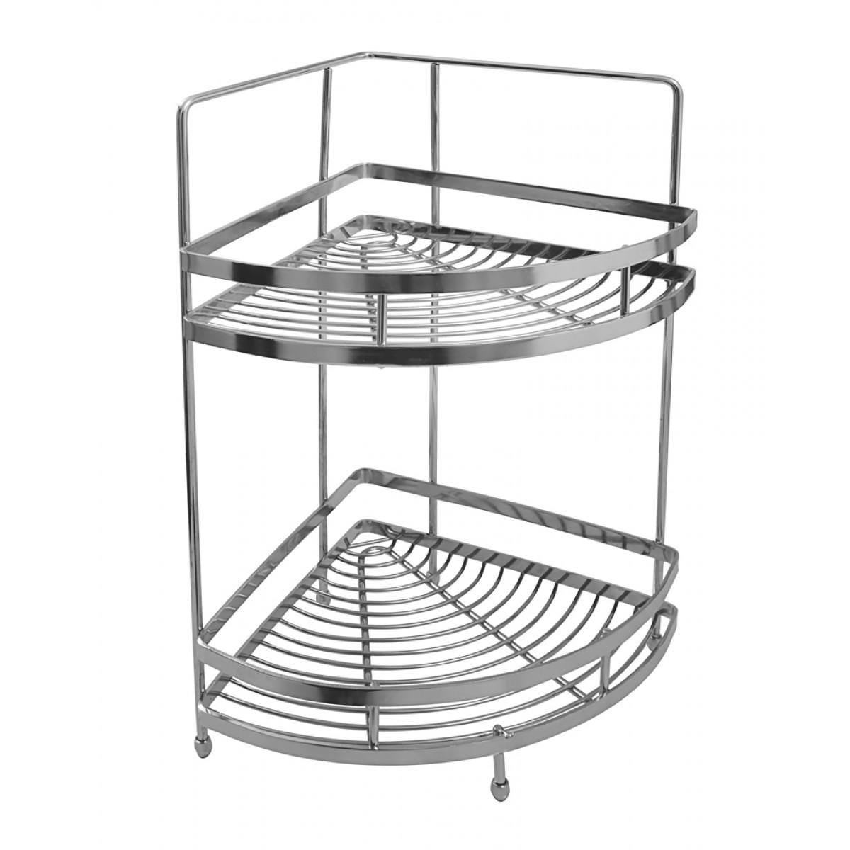 Klaxon Stainless Steel Double Shelf Basket Silver