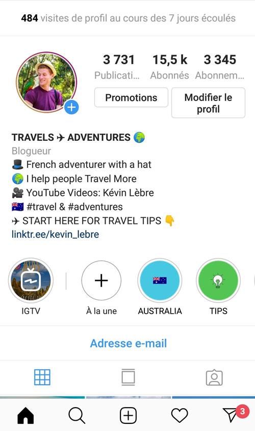 Compte Instagram de Kévin Lèbre