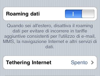 Schermata preferenze rete tethering di iPhone