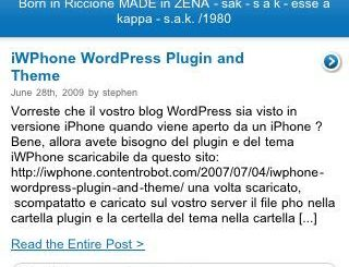screenshot blog kleckner.it con tema iWPhone visto con un iPhone 3