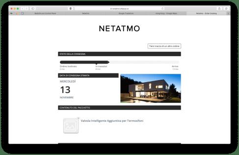 Screenshot NETATMO stato della consegna