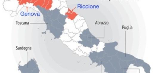le regioni in quarantena in Italia all'8 marzo 2020