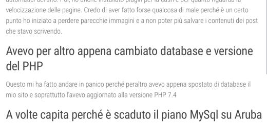 schermata post Wordpress non salva più il testo che si inserisce nel corpo del post