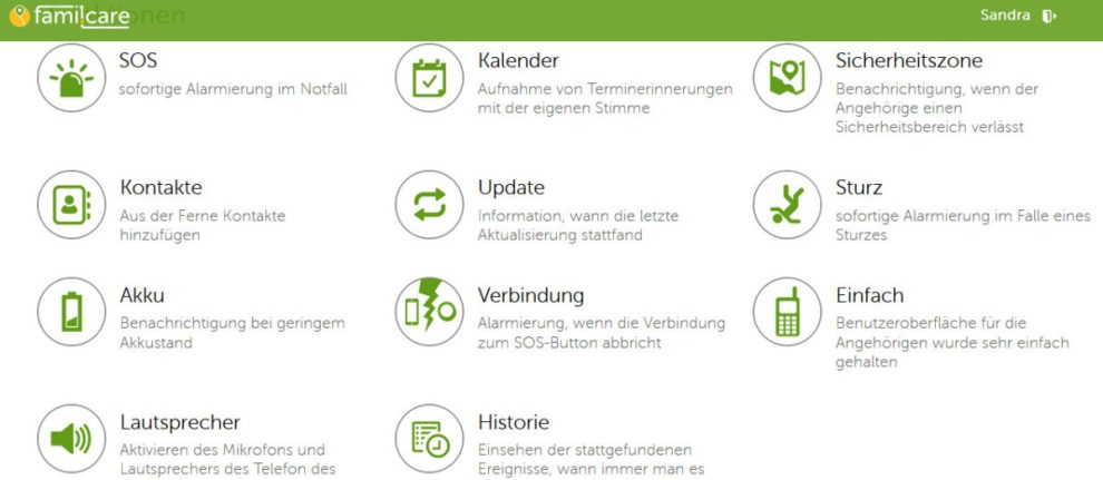Funktionen famil.care senior app