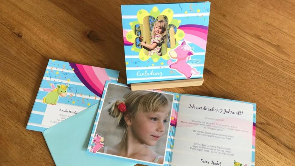 Einladungskarten für den Kindergeburtstag mit Umschlag und Einhorn
