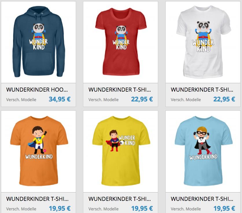 Auswahl T-Shirts SHIRTEE