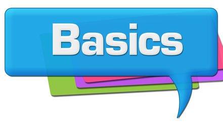 Wohnmobil - Basics weiße Schrift auf blauem Hintergrund