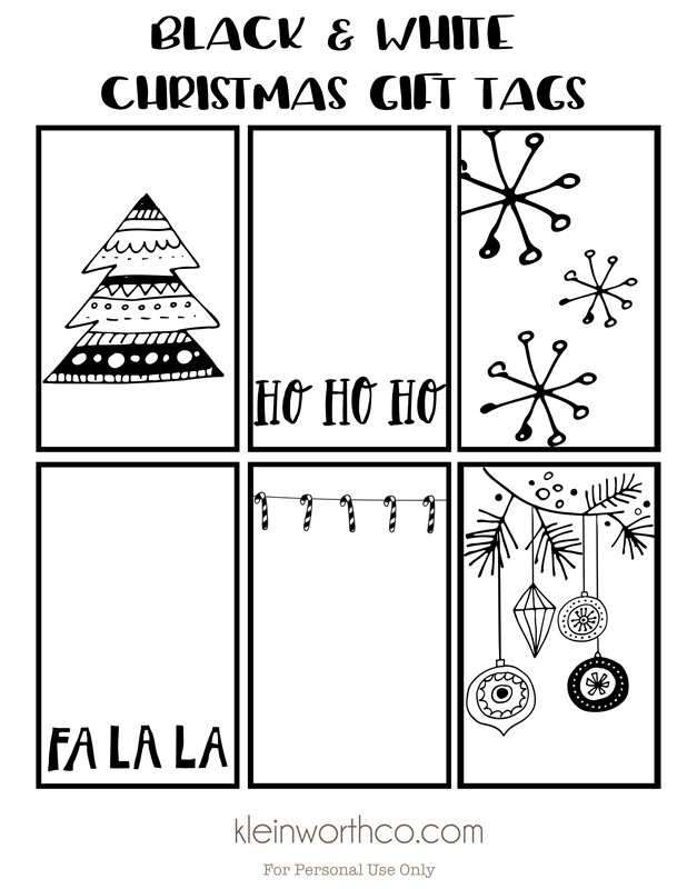 Christmas White Printable Free Labels Black And