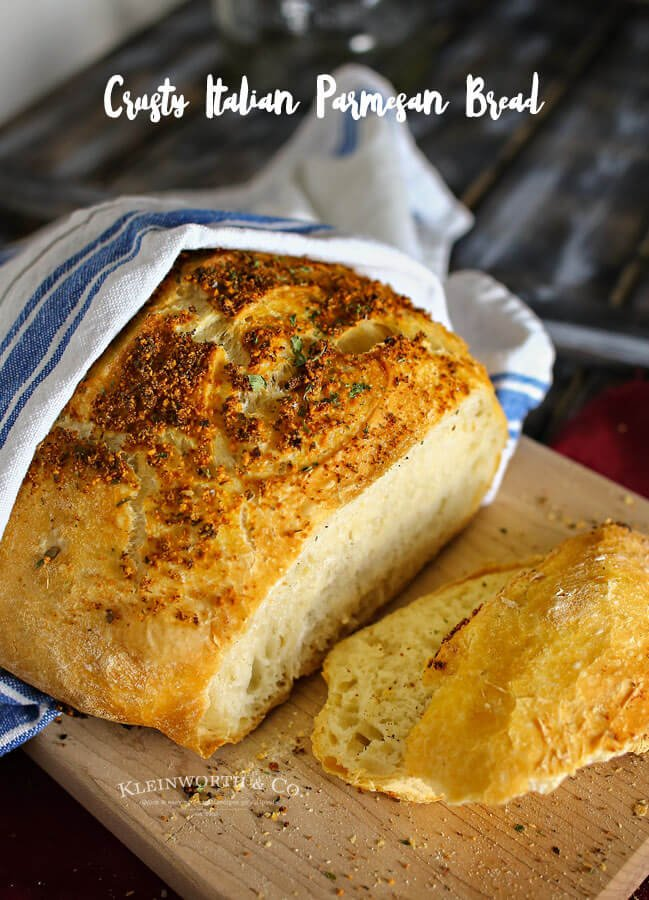 "Crusty Italian Parmesan Bread Recipe | The 36th Avenue ""Crusty Italian Parmesan Bread is one of the easiest bread recipes around. Perfect with just about any dinner, one loaf never lasts long. It's delicious."""