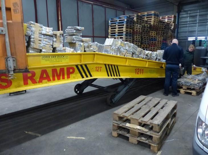 Drogentransport mit Förderband im Hafen von Antwerpen