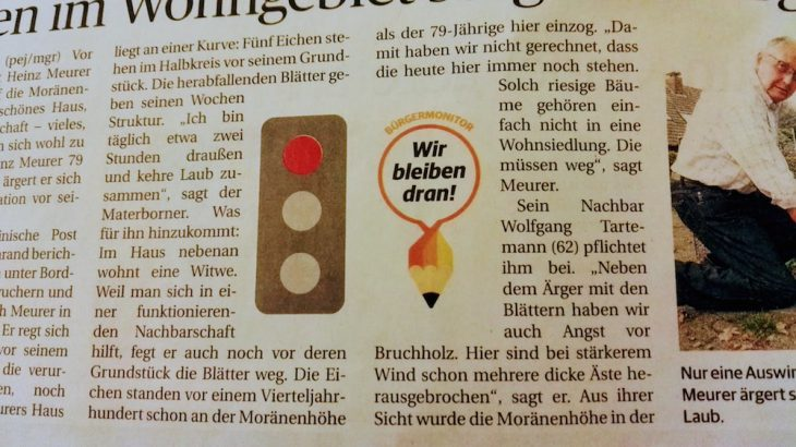 """Notlage Moränenhöhe: """"Wir bleiben dran"""", verspricht der Bürgermonitor. Die Blätter hingegen bleiben nicht dran"""