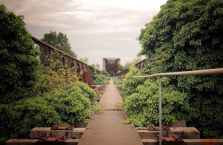 Für die Ewigkeit gebaut, aber am Ende nicht mehr als eine Rankhilfe: Altrheinbrücke in Griethausen