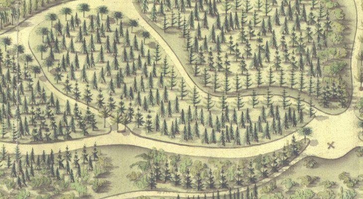 Das gut sichtbare X signalisiert, wo im Neuen Tiergarten der Schatz vergraben ist