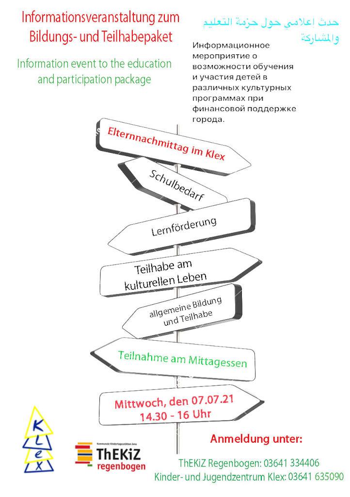 Der Flyer zur Informationsveranstaltung zum Bildungs- und Teilhabepaket in verschiedenen Sprachen