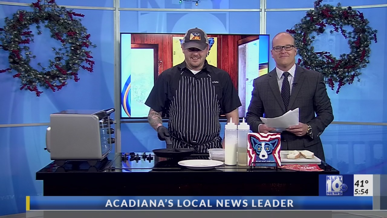Blue Dog Cafe' Chef Ryan Trahan Cooking in the Passe Partout Kitchen