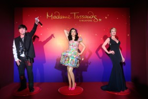 Meike Schulze, Divisional Director of Media Entertainment. Mike Barclay, CEO of Sentosa Development Corporation. Wax figures of Jay Chou Katy Perry Kate Winslet at the Launch of Madam Tussauds Singapore,