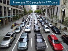Hier sind 200 Personen in 177 Autos