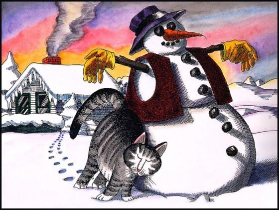 Imagen de fantasia de gatito en la nieve