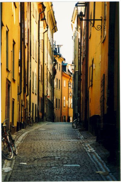 Photo of narrow street in Gamla Stan (Old Town) Stockholm, Sweden.