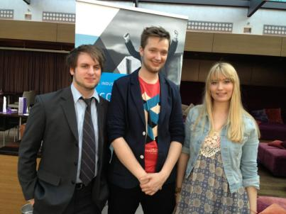 From left to right: Mathias, Robin and Elena shortly before the Deutscher Computerspielpreis 2013.