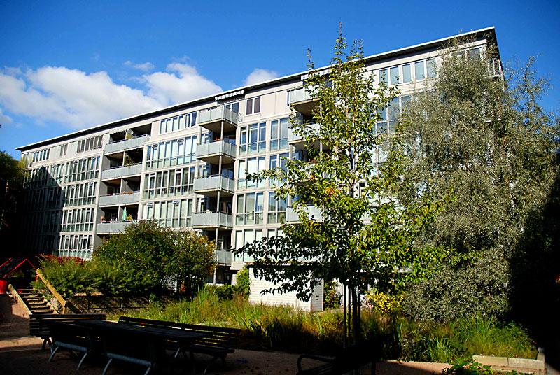 Hovedfasaden til Klosterenga borettslag sett fra bakgården Garagård. Foto: Catherine Dumont
