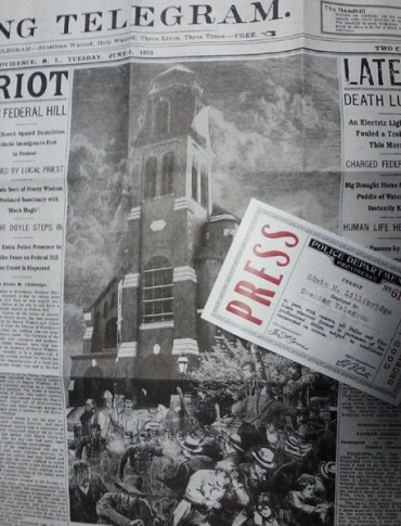 Newspaper article about riots over the church