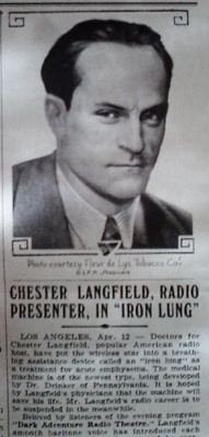Chester Langfield, radio presenter, in iron lung