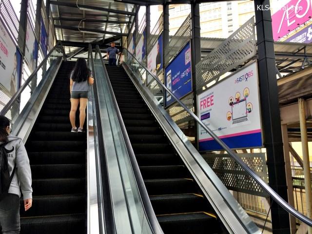 Escalator to Mid Valley pedestrian bridge from KTM Komuter