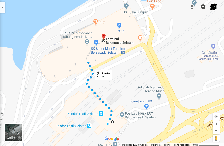 LRT Station to TBS Bus Terminal Route Map