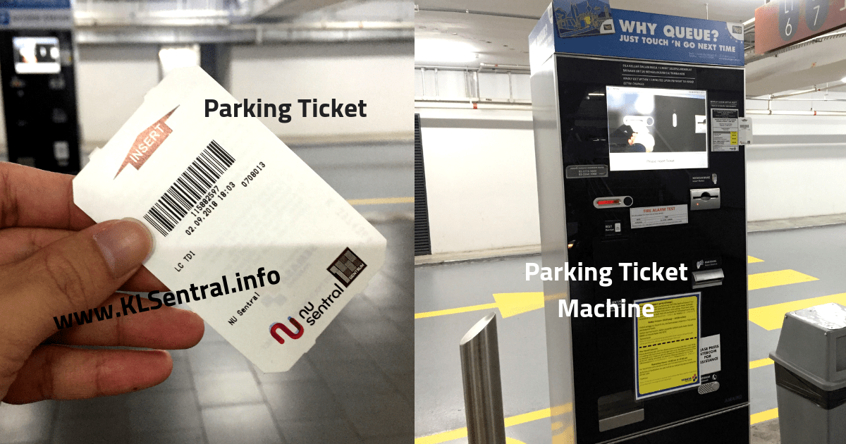 NU Sentral Parking Ticket and Machine for Payment