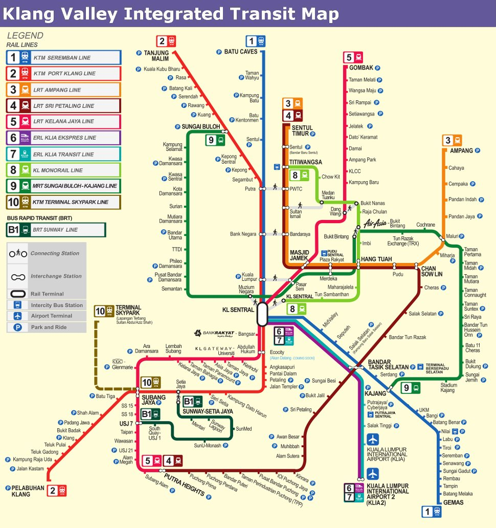 Klang Valley Integrated Transit Map LRT MRT Komuter