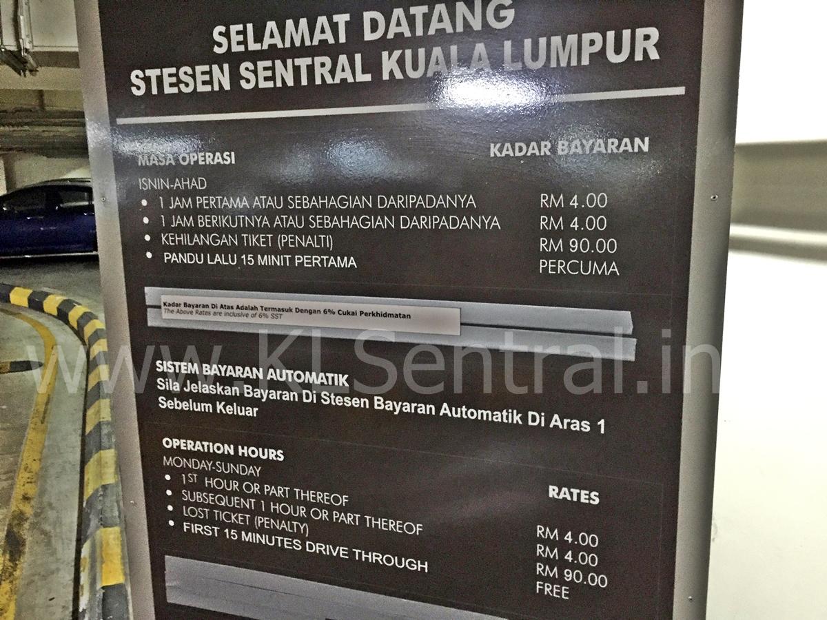 KL Sentral Indoor Parking Rates
